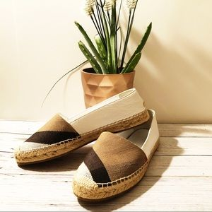 {Burberry} Hodgeson Check Leather Espadrille Flats